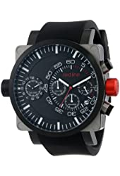 red line Men's RL-50048-SS-BB-01-BK Dual Timer Chronograph Black Dial Black Silicone Watch