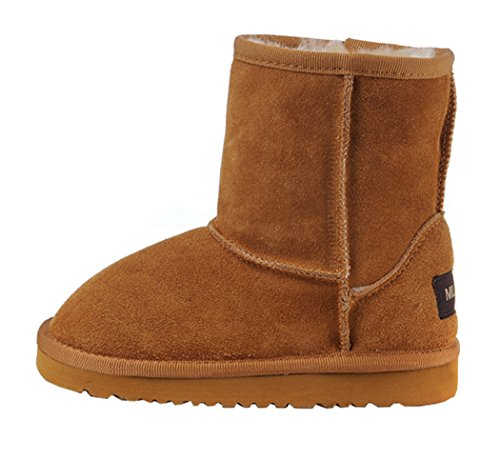 Milanao Kids Cowhide Fluff Slip Resistant Snow Boots(1.5 M Us Little Kid,Chestnut)