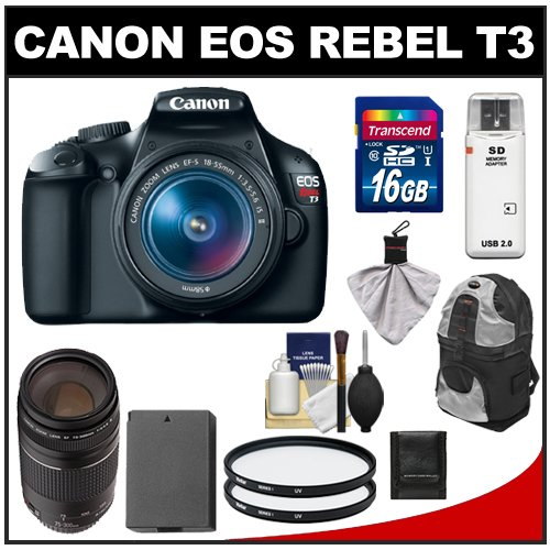Canon EOS Rebel T3 12.2 MP Digital SLR Camera Body & EF-S 18-55mm IS II Lens with 75-300mm III Lens + 16GB Card + Battery + Backpack Sling Case + (2) Filters + Cleaning Kit