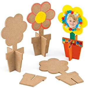 3d wooden flower with pot stand size 17cm x for Decorate with flowers amazon