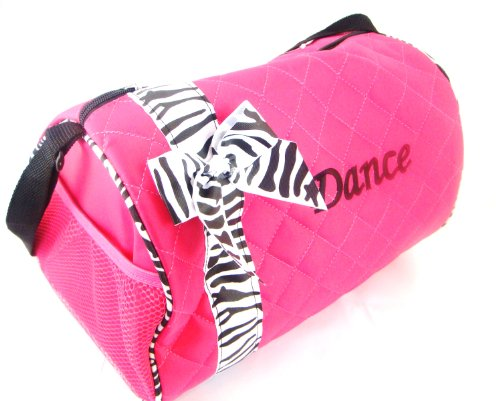 Kids Dance Duffle Bag Hot Pink And Black Gym Travel Sleep Over Ballet