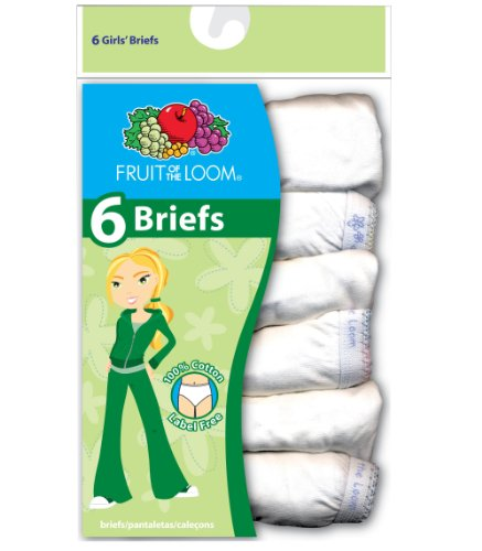 Fruit of the Loom Girl's 6PK White Cotton Briefs