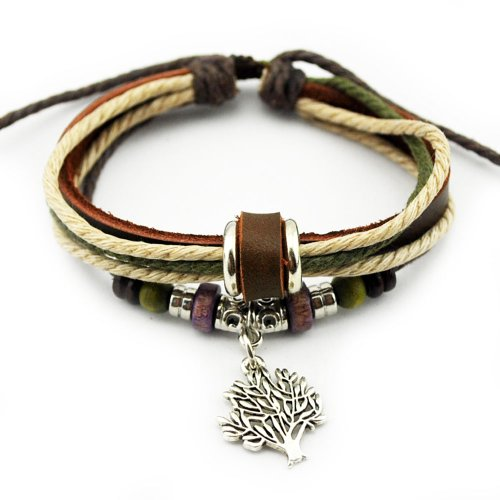 Real Spark The Tree Of Life Pendant Wood Beaded Adjustable Length Wrap Bracelet