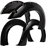 Fender Flares for Select Ford F-Series Super Duty - Bolt On Pocket Rivet Style with Hardware Kit (Pack of 4) Re-Paintable Smooth Matte Black