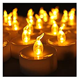Youngerbaby 100pcs Amber Yellow Battery Operated Flameless LED Tea Lights Candles,No Flickering Electric LED Tealights Candles Lights For Party Wedding Outdoor Garden
