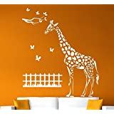 Hoopoe Decor Giraffe With Butterfly Wall Stickers And Wall Decals, A Wall Art Best For Home Decoration