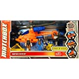 MATCHBOX MEGA RIG Building System RAPIDS RESCUE with Helicopter, 2 Human Figures, & Rescue Lift