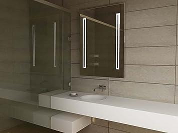 miroir moderne design illumin pour pour salle de bain avec d tecteur anti anti bu e prise. Black Bedroom Furniture Sets. Home Design Ideas