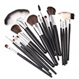 18 PCS Nylon Makeup Brush Set Cosmetic Make Up Set + Golden PU Pouch Bag