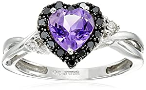 10k White Gold Heart Shaped Amethyst with Round Black and White Diamond Ring, Size 9
