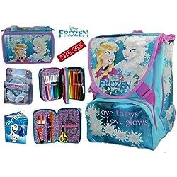 a34d82f80b ZAINO FROZEN SISTER ELSA E ANNA LOVE GLOWS SCHOOL PACK ZAINO SDOPPIABILE  SEVEN C/GADGET. Amazon.it