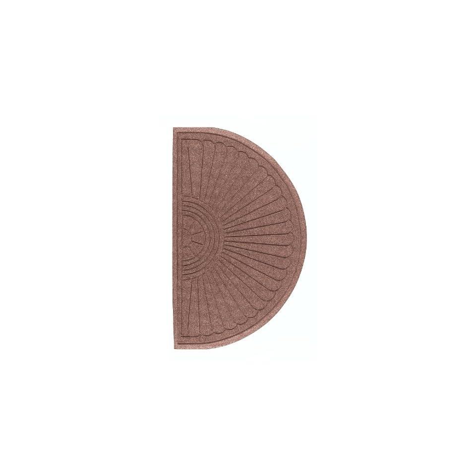 Andersen 272 Waterhog Grand Classic Polypropylene Fiber Half Oval Entrance Indoor/Outdoor Floor Mat, SBR Rubber Backing, 1.8 Length x 3 Width, 3/8 Thick, Medium Brown