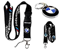Powered by BMW Lanyard & Metal Roundel Logo Keychain Combo + Bonus: GT//Motorsports Lanyard by GT//Motorsports