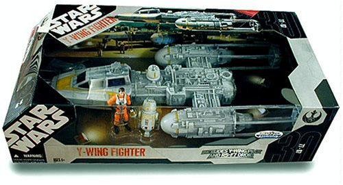 Gold Squadron Y-Wing Fighter With Pilot  &  Droid