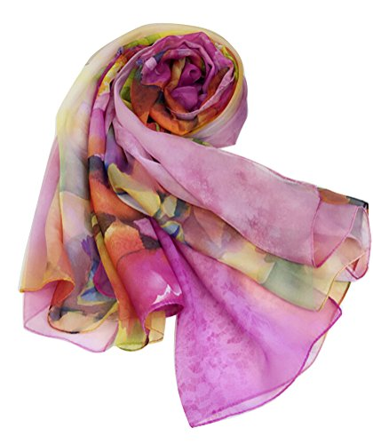 Ghope Damen Strandtuch Chiffon Schal Pareo Sarong Wrap Blume Printed 140*200cm Pink Rosa