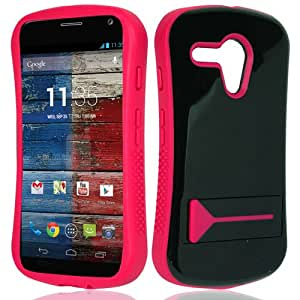 CY Infuse Hybrid Cover Case With Kick Stand For Motorola Moto G (CDMA) (Include a Free CYstore Stylus Pen) - Pink