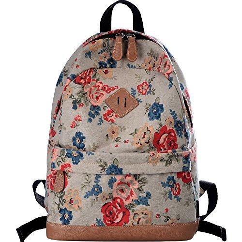 Geek-M Vintage Canvas Floral Casual Daypack School College Rucksack Backpack (Retro Rose)