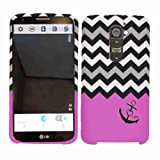 Cell Armor LG G2 Snap-On Cover – Retail Packaging – Black Anchor/Black and White Chevron on Pink