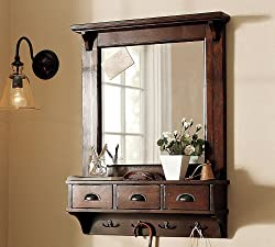 LifeEstyle Dressing Mirror with hooks and 3 storage drawers , bathroom shelf,Dark Walnut