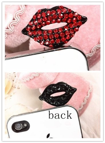 Top-Ishop Bling Special Blacke Lips Crystal Decorated Headphone Jack Anti-Dust Plug For Iphone 5 4S Samsung Galaxy S2 S3 S4 Note2 N7100 Note3 Blackberry Z10 Any 3.5Mm Earphone Port