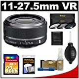 Nikon 1 11-27.5mm f/3.5-5.6 VR Nikkor-Zoom Lens (Black) with 32GB Card + 3 UV/CPL/ND8 Filters + Accessory Kit for J1, J2 & V1 Digital Cameras