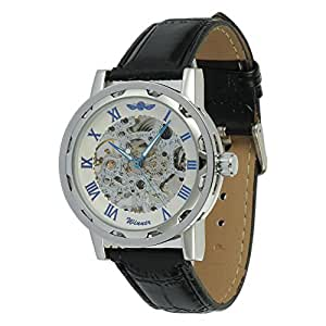 Seasonwind Luxury New Silver with Blue Pointer Mechanical Semi-automatic Commercial Dial Window Skeleton Analog Leather Men Wrist Watch