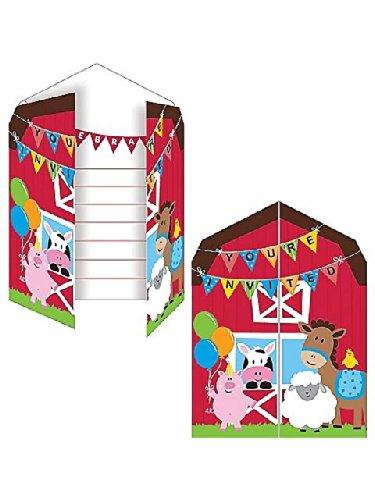 Farmhouse Fun Invitation (8) Invites Farm Animal Barnyard Party front-517616