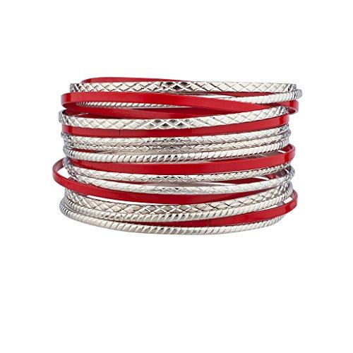 lux-accesorios-esmalte-rojo-con-textura-metal-multiples-bangle-set