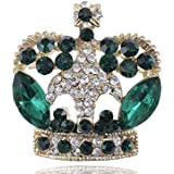 Antique Inspired Emerald Green Crystal Rhinestone Golden Brass Crown Brooch Pin