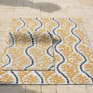 "Amazon Orange Cascade Outdoor Rug 3 6"" x 5 6"