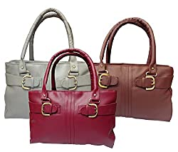 Arc H&H Women Buckle Hand Bag Combo - Pink + Maroon+ Grey