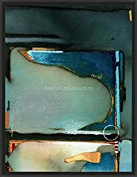 12in x 15in Shades of Blue by Craig Alan - Black Floater Framed Canvas w/ BRUSHSTROKES