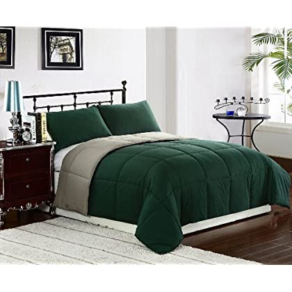 Fabulous Reversible Down Alternative Comforter Set by ExceptionalSheets Twin Hunter Green Sage