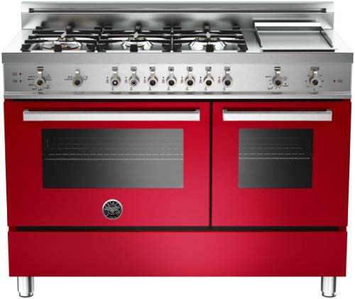 Pro486Ggasrolp | Bertazzoni Professional 48 Gas Range, Liquid Propane - Rosso Red