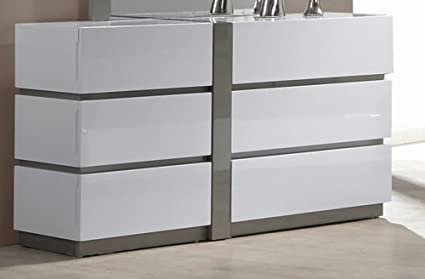 Chintaly Imports 6 Drawer Dresser, Large, White/Grey