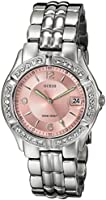 """GUESS Women's G75791M """"Dazzling Sporty"""" Mid-Size Silver-Tone Watch"""