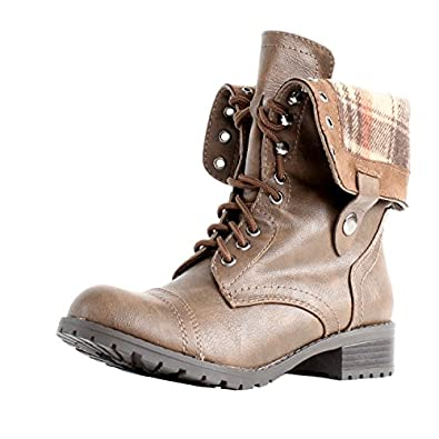 Soda Women's Oralee Military Boot,5.5 B(M) US,Brown