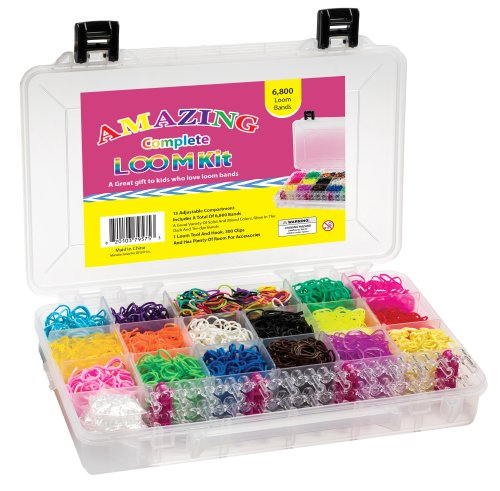 Amazing Loom Bands Complete Collection Organizer Storage Kit, Includes Loom Tool and Hook + 6,800 Bands +300 Clips a Variety of 12 Beautiful Colors - Including Tie-dye and Glow in Dark Ruber Bands with Instructions (Compare to Twistz Bandz Rainbow Loom Br
