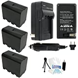 3-Pack NP-F970 High-Capacity Replacement Batteries With Rapid Travel Charger For Select Sony Digital Cameras. UltraPro Bundle Includes: Deluxe Cleaning Kit LCD Screen Protector Mini Tripod