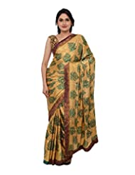 Chandan Sarees Crepe Silk Self Print Chiku With Bottle Green Print Saree