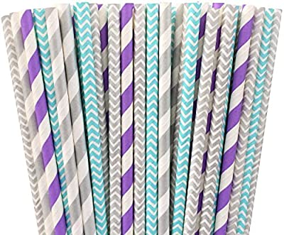 Light Blue Lavender and Silver Chevron and Striped Paper Straws Frozen Birthday Party Supply-100%Biodegradable 7.75 Inches Pack of 100