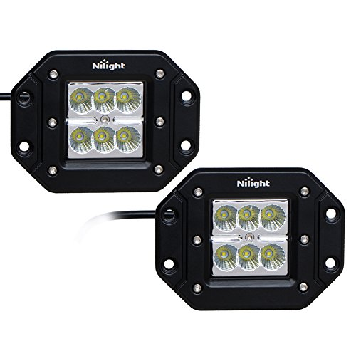 Nilight 2PCS 18W Flood LED Work Light Driving Lights Led Light Bar Off Road Led Lights Flush Mount for Jeep Truck Tacoma Bumper ATV UTV,2 Years Warranty (Led Flush Mount Light compare prices)