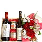 お花、ワインとグルメギフトセット フランス ボルドー、メドック地区の赤ワインとシャブリの白ワイン 375ml×2本 蟹のリエット 鴨のリエットとお花のアレンジメント