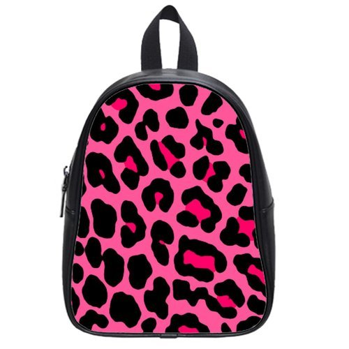 Generic Custom Pink Leopard Printed School Bag Backpack Fit Short Trip Pu Leather Medium front-241183