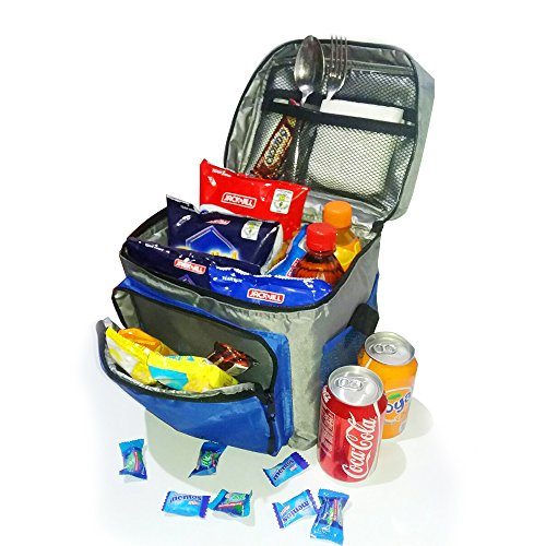Insulated Lunch Bag / Cooler Bag - Multipurpose - Removable Insulated Sleeve - Extra Heavy Insulation (Grey and Blue) (Embark Cooler 12 Can compare prices)