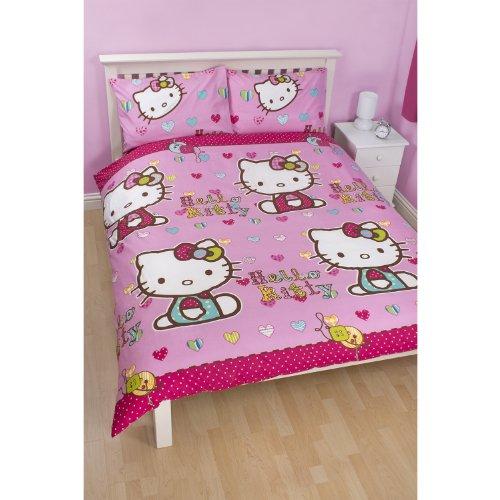 Childrens Girls Hello Kitty Reversible Folk Double/Full Duvet Cover And Pillowcases (Full Bed) (Pink) front-914447