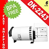 """BROTHER-Compatible DK-2243 Continuous Paper Labels with ONE (1) reusable black cartridge (4"""" x 100; 102mm*30.48m) -- BPA Free! (6 Rolls; Continuous Paper)"""