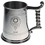 Gear Crest Tankard with Rope Handle in Polished Pewter 1 Pint Capacity