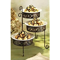 METAL SCROLL SALAD PLATE SET - PRESS METAL SCROLL 3 TIER RACK W/ PLATES