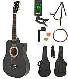 Akustik Western Gitarre Westerngitarre in Schwarz mit...